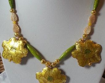 Ethnic necklace Cloisonne handmade Copper Enamel flower gold and green handmade