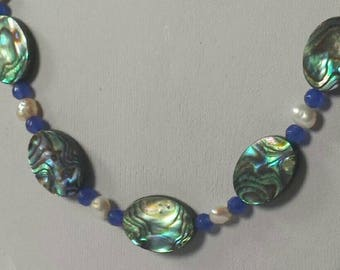Abalone shell Sapphire and pearl necklace