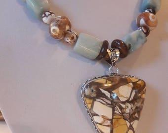 Big & bold natural stone Aquamarine beaded necklace