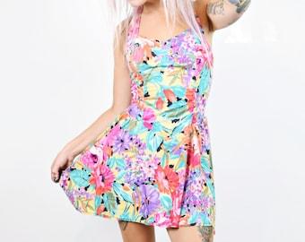 VTG 80s Funky Floral Boned Halter Sweetheart Dress Circle Skirt Mini Dress Neon Rainbow Kawaii Girly Vintage Dress