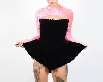 VTG Neon Pink Velvet Skater Mini Dress Cut Out Mesh Sheer Holographic Rhinestone Vintage Costume Burlesque Dancer Crushed Black Cosplay S