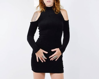 Vintage 80s 90s Velvet Peek A Boo Cut Out Shoulder Long Sleeve Mini Dress Grunge Babe Goth Witchy Sexy Cocktail Party Midi Dress Festival S