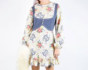 vtg 60S 70S Western Cowgirl Floral Mini Dress Bell Sleeves S/M