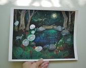In the deep dark woods // 8.5 x 11 eco-friendly wall art forest deer print