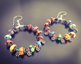Beaded Bangle Drop Hoop Earrings