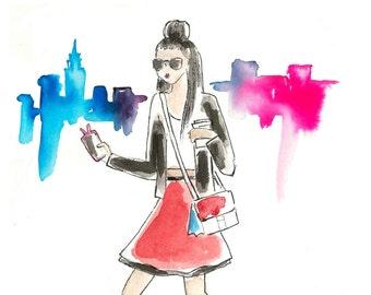 "Custom Portrait Fashion Illustration ""Super Simple Package"", friendship gift, blogger header, fashion blog, logo illustration, business card"