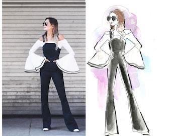 Custom Portrait Fashion Illustration, friendship gift, blogger header, fashion blog, logo illustration, business card