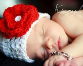 ADORABLE BABY BEANIE WITH CHERRY RED FLOWER - GREAT PHOTO PROP.