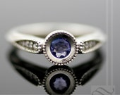Tanzanite and Diamond Hover Engagement Ring - 14k White Gold - Vintage Milgrain Styling