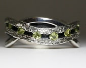 Peridot Eternity Ring - A River of Peridot - Sterling Silver