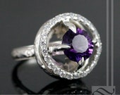 Handcrafted Amethyst Halo Ring in  sterling silver