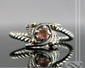 Oregon Sunstone Art Deco Engagement or Promise Ring in Sterling silver and yellow gold