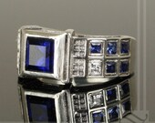 Level 3 TARDIS Ring Solid Sterling Silver -  With Lab Sapphires and CZ wedding Band or Signet Ring