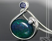 Freestyle Andamooka Opal Tension Pendant with Blue Sapphire - Sterling Silver