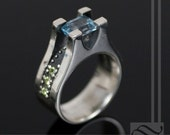 Studded Series - Blue Topaz and Peridot rectangle cut statement Ring - Steampunk