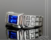 TARDIS Ring Solid Sterling Silver - Level 2 -  With Lab Sapphire and Diamond - Wedding band or Signet Ring