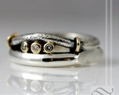 Triple Diamond Mens Wedding band in Sterling silver and yellow gold