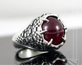 Ruby Reality Stone in Sterling Silver - Avengers Infinity Stone Series Signet Ring