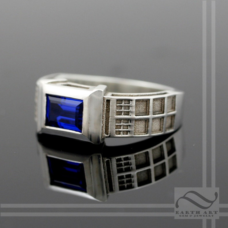 TARDIS Ring Solid Sterling Silver   With Lab Sapphire Wedding image 0