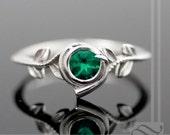 Kokiri Emerald Ring - Legend of Zelda - Geeky Engagement Ring - Sterling Silver
