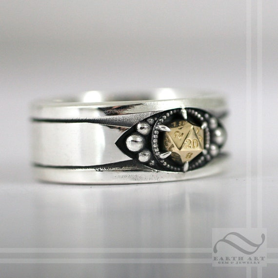 D20 Mens Band Mixed Metals Sterling And 14k Options D D Themed Etsy