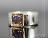 Solid Round Australian Opal ring in 14k and sterling silver