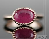 Ruby Engagement Ring in Milgrain - A simple Ruby Solitaire Ring - 14k rose gold