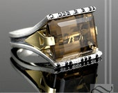 Smokey Quartz Cocktail ring in Sterling and 18k