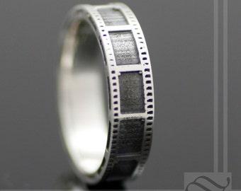 Film Strip Wedding Ring - Sterling Silver -unisex