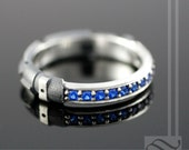 Sapphire Light Saber Ring - Sterling Silver - geeky blue wedding band, anniversary ring or promise ring