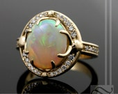 Australian Opal Halo Engagement ring with Diamonds in 14k yellow gold - Solid Natural Opal