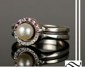 Two Part Pokeball Ring Set - Pearl, ruby and diamond in 14k white gold - wedding set - engagement ring and wedding band