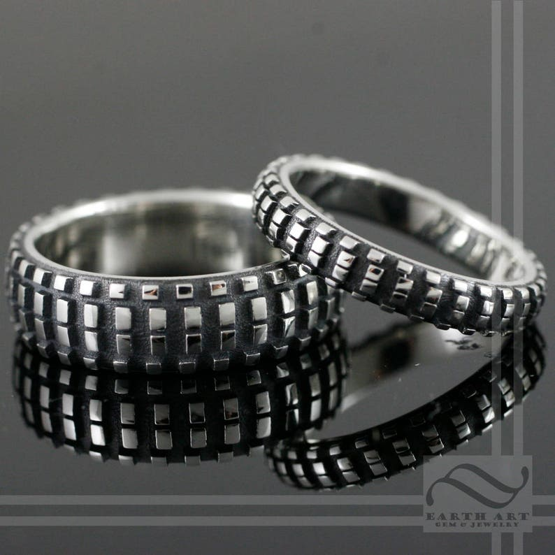 Dirt Bike Tire Tread Ring Sterling Silver Mens knobby tire texture wedding band