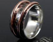 Rustic Double Metal Hammered Spinner - Sterling Silver and Copper
