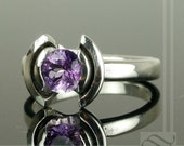 Amethyst Modern Tulip Ring - Sterling Silver Engagement ring or birthstone ring