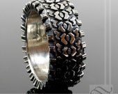Detailed Sterling Silver Truck Tire Tread Ring Extra thick and beefy wide design