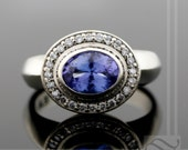 Tanzanite and Diamond Halo Engagement Ring - 14k white gold - thick and bold design - December birthstone