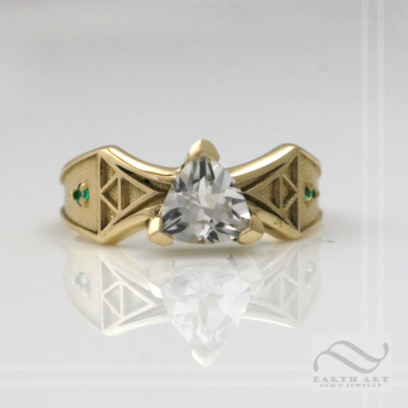 Link to the Future  14k Zelda Engagement Ring  Sun Edition image 0