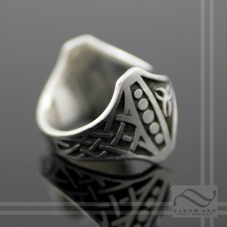 Nordic themed design with Celtic knot work on the band Sterling Silver Adjustable ring Hammer of Thor