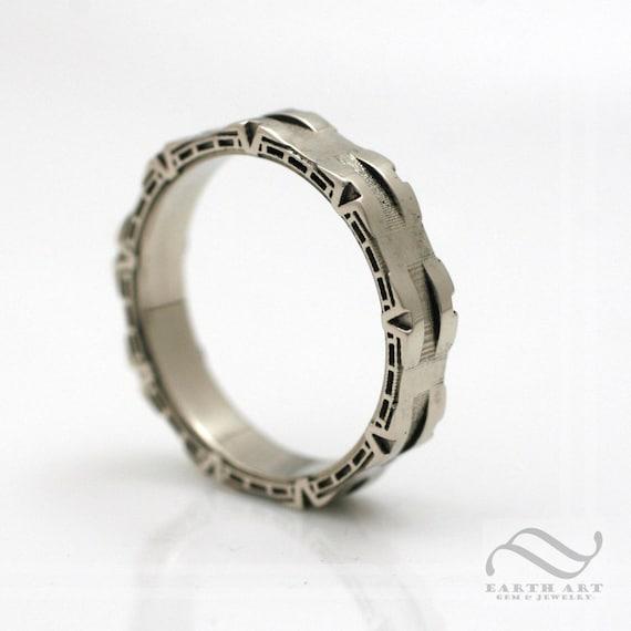 Unisex Band Ring Engagement Band Gold Ring Wedding Band Ring Unique Band Ring Steampunk Ring Unique Stargate Ring Stargate Band Ring