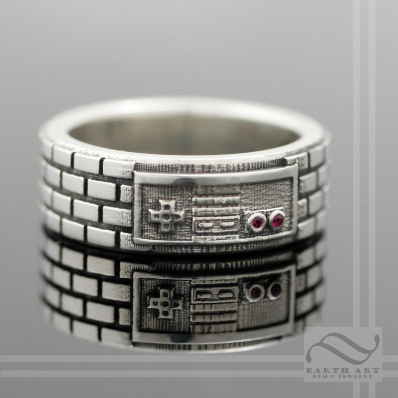 NES Game Controller Ring Sterling Silver With Natural Ruby image 0