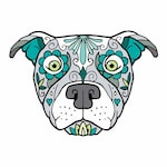 Pitbull Pitty Sugar Skull Tattoo Breed Dog Full Color Vinyl Decal