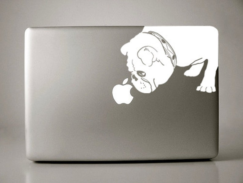 Bridget the English Bulldog Sniffs Apple Decal Macbook image 0