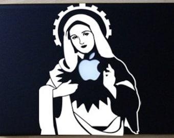 Saint Mary Sacred Heart Apple White Decal Laptop Macbook