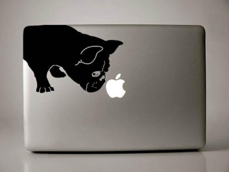 French Bulldog Sniffs Decal Macbook Apple Laptop image 0