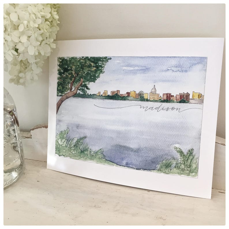 Madison Wisconsin Skyline Watercolor Print Watercolor image 0