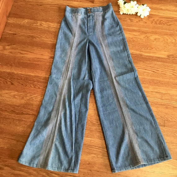"vtg Sears wide leg flare jeans 28"" waist high rise"