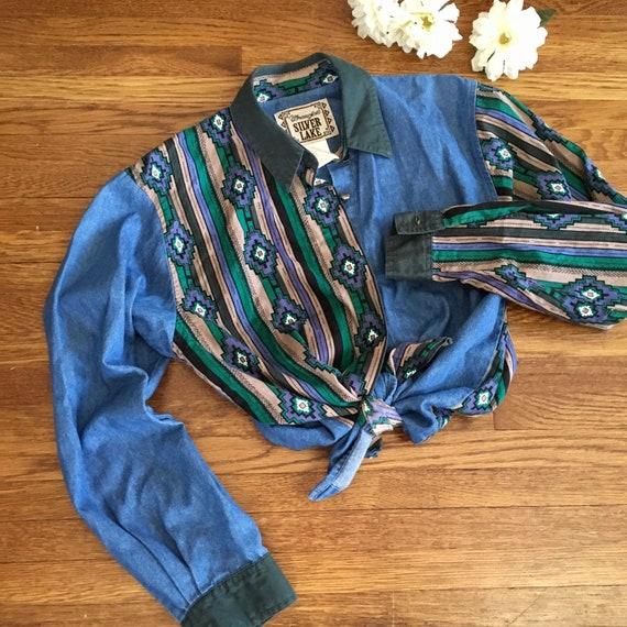 vintage Wrangler western button up shirt women's S
