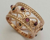 Solid Rose Gold wedding Band, gypsy ring, garnets band, boho ring, multi stones ring, dainty ring, 14k gold ring - Shades of spring RG1267