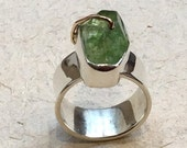 Green quartz ring, One Of A Kind ring, raw gemstone jewelry, organic design ring, boho ring, silver gold ring, twotone ring - Tango R2364